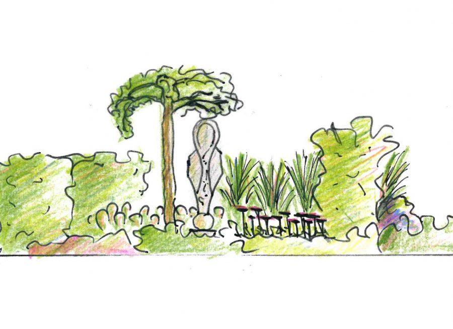Gartenplanung - Skizze Seitenansicht