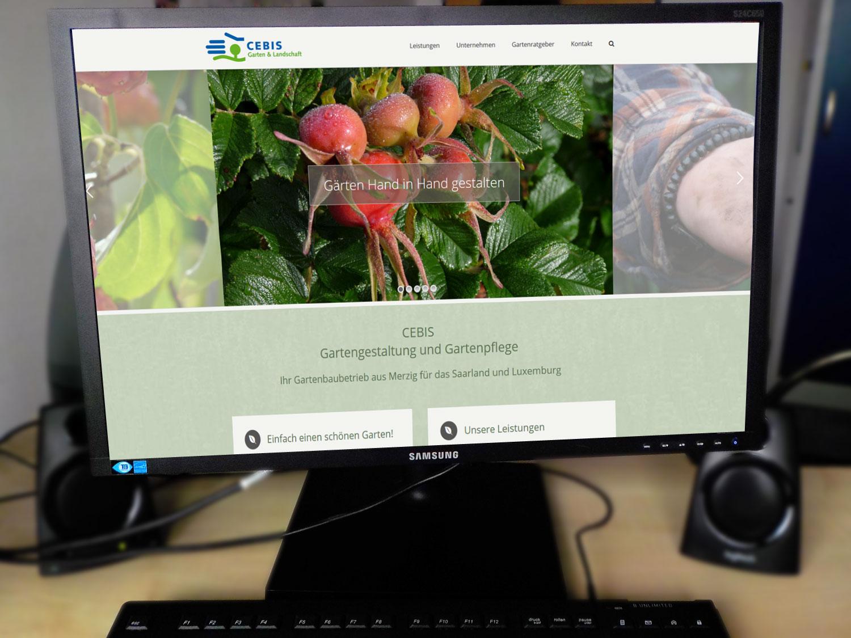 Ansicht der neuen Webseite auf einem Computerbildschirm